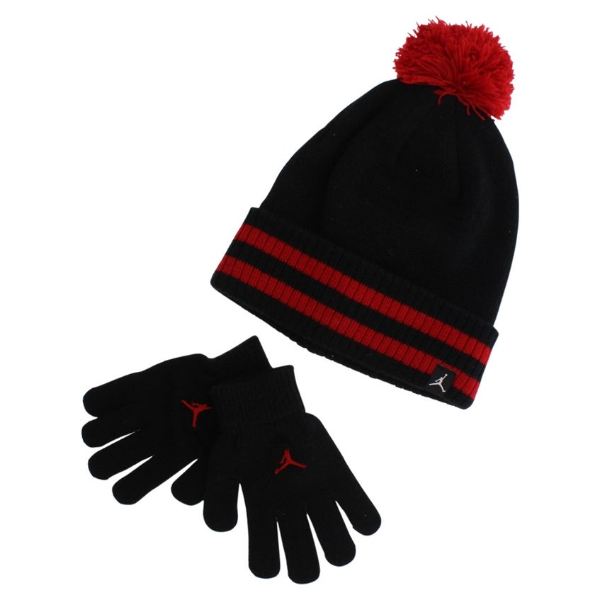 b17239a6994ae2 Shop Jordan Boys Cuffed Pom Beanie Hat and Gloves Black - Black/red - M -  Free Shipping On Orders Over $45 - Overstock - 22702776