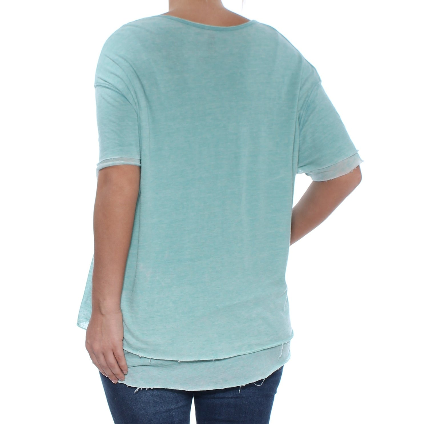 3820c3e48e36 Shop FREE PEOPLE Womens Turquoise Cloud Nine Tee Short Sleeve Boat Neck Top  Size: S - Free Shipping On Orders Over $45 - Overstock - 27870171