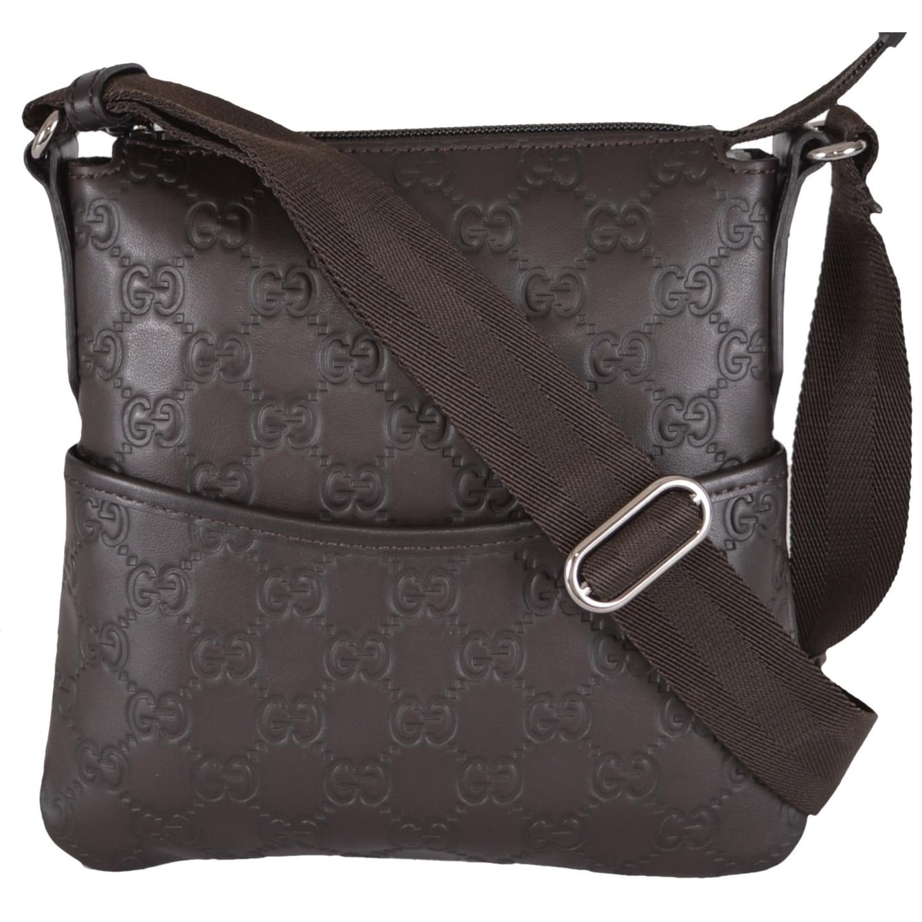 Gucci 374416 MINI Brown Leather GG Guccissima Crossbody Day Purse Bag