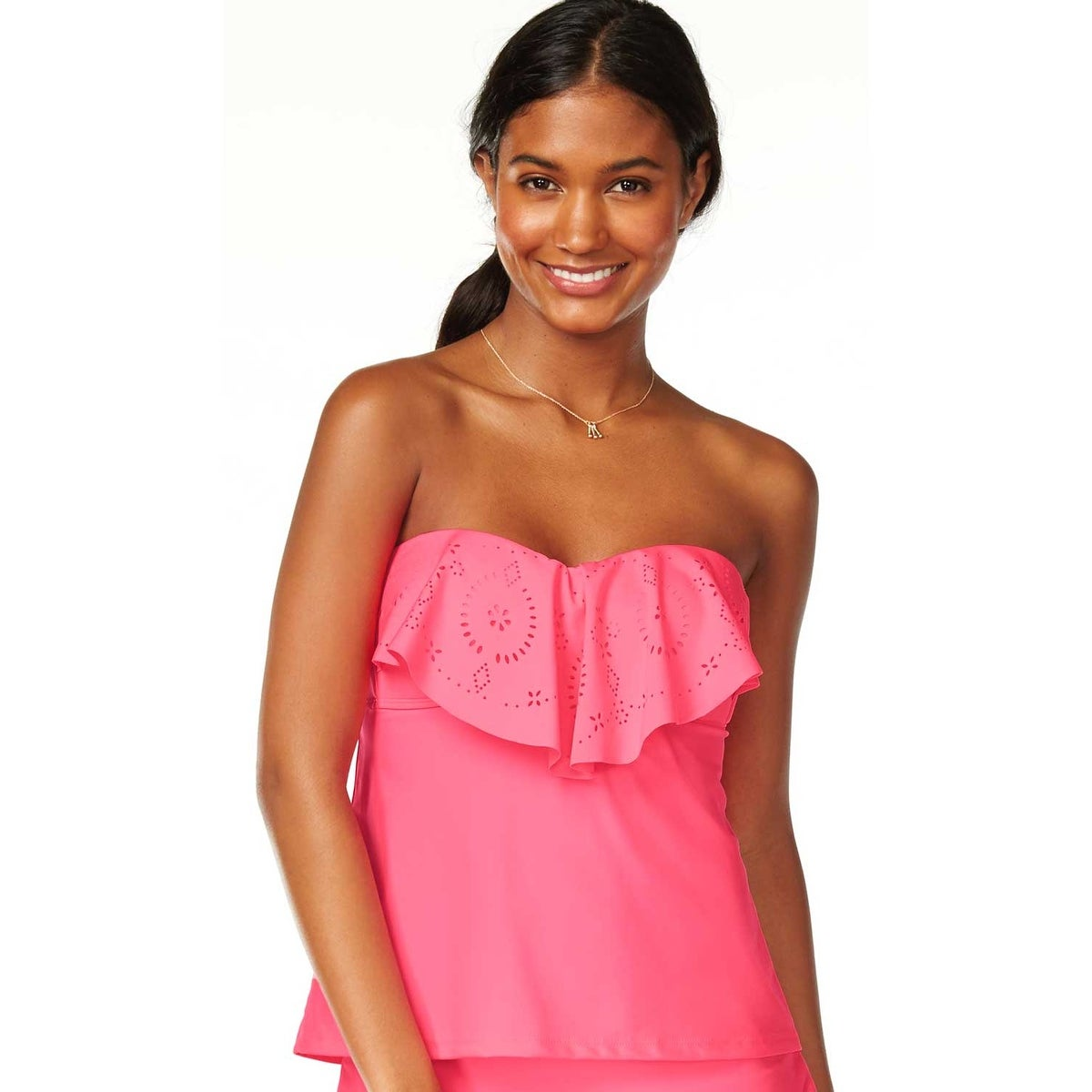 b7ab6879c9836 Shop Hula Honey Womens Swimsuit Tankini Top Small S Pink Flounce Bandeau - Free  Shipping On Orders Over $45 - Overstock - 20558956