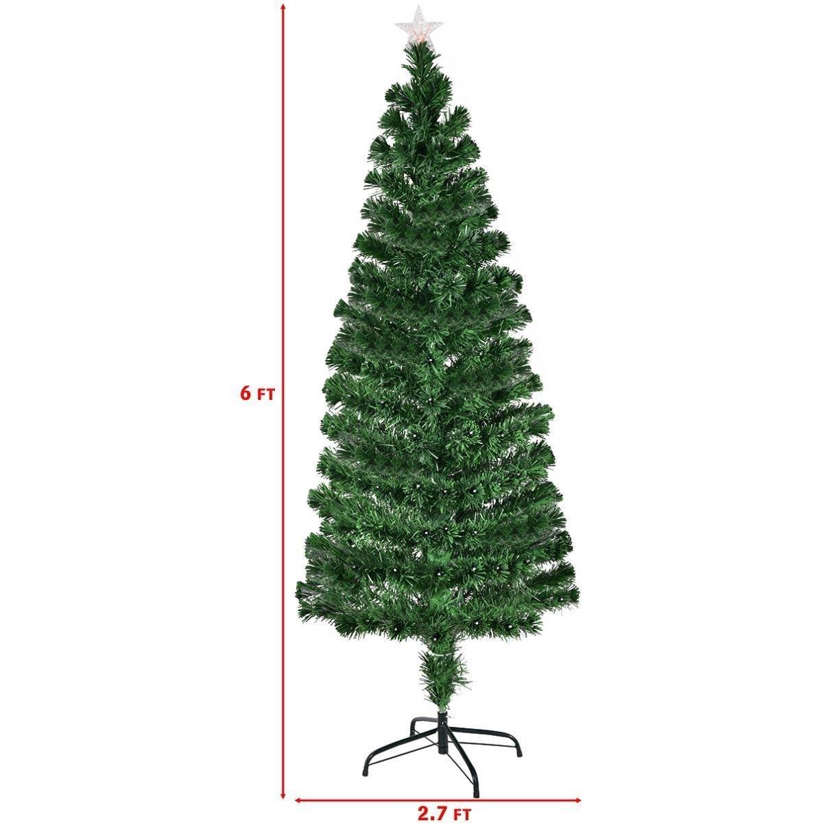Shop Costway 6Ft Fiber Optic Artificial Christmas Tree w/225 Multi ...