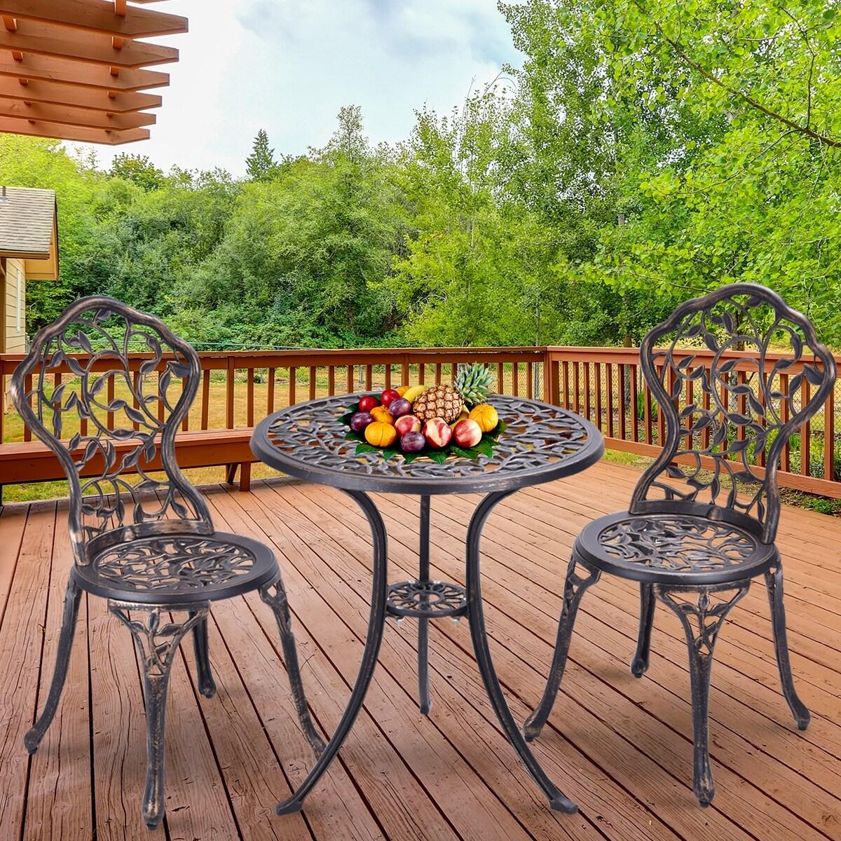 Costway outdoor patio furniture leaf design cast aluminum bistro set antique copper as pic