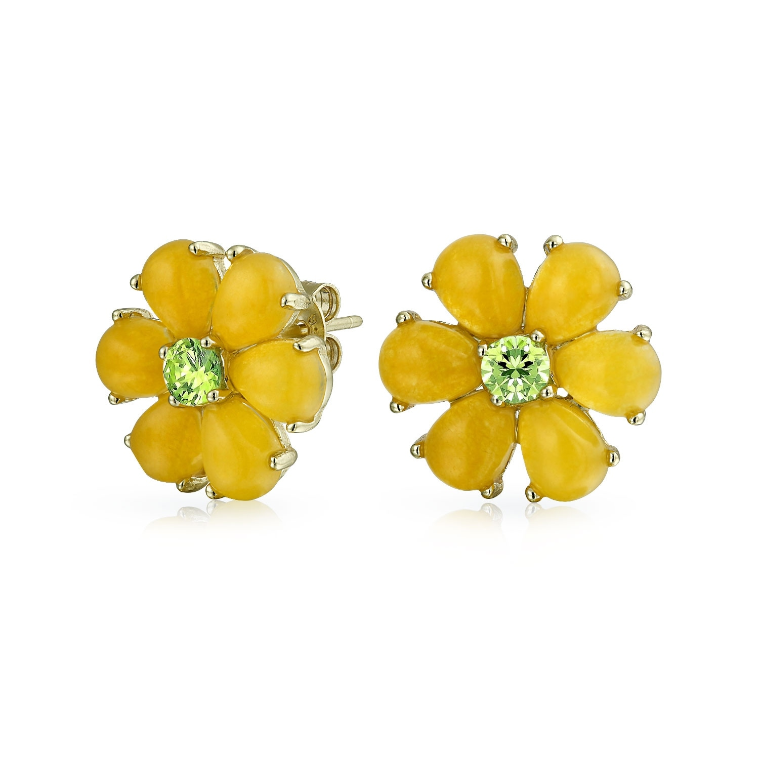 Shop bling jewelry daisy flower dyed peridot august birthstone shop bling jewelry daisy flower dyed peridot august birthstone yellow jade stud earrings gold plated 11mm free shipping on orders over 45 overstock mightylinksfo