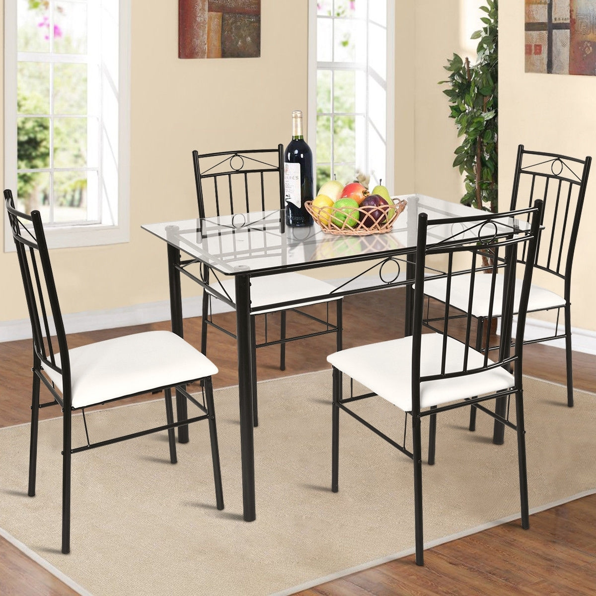f87318cbcda Shop Costway 5 Piece Dining Set Glass Metal Table and 4 Chairs Kitchen  Breakfast Furniture - Free Shipping Today - Overstock - 21009938