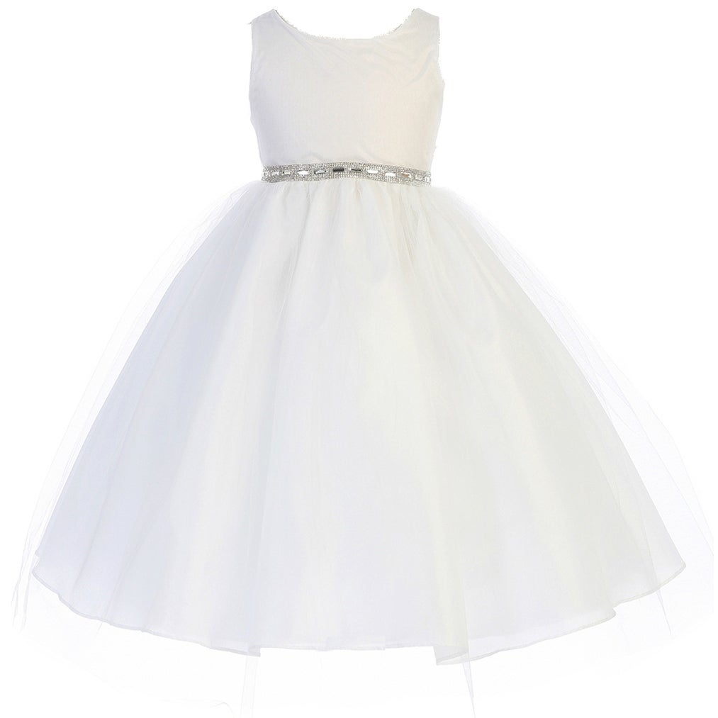 f3e9494cc50 Shop Flower Girl Dress Rhinestone Waist Band Tulle Bottom White CA 754 - Free  Shipping Today - Overstock - 17752225