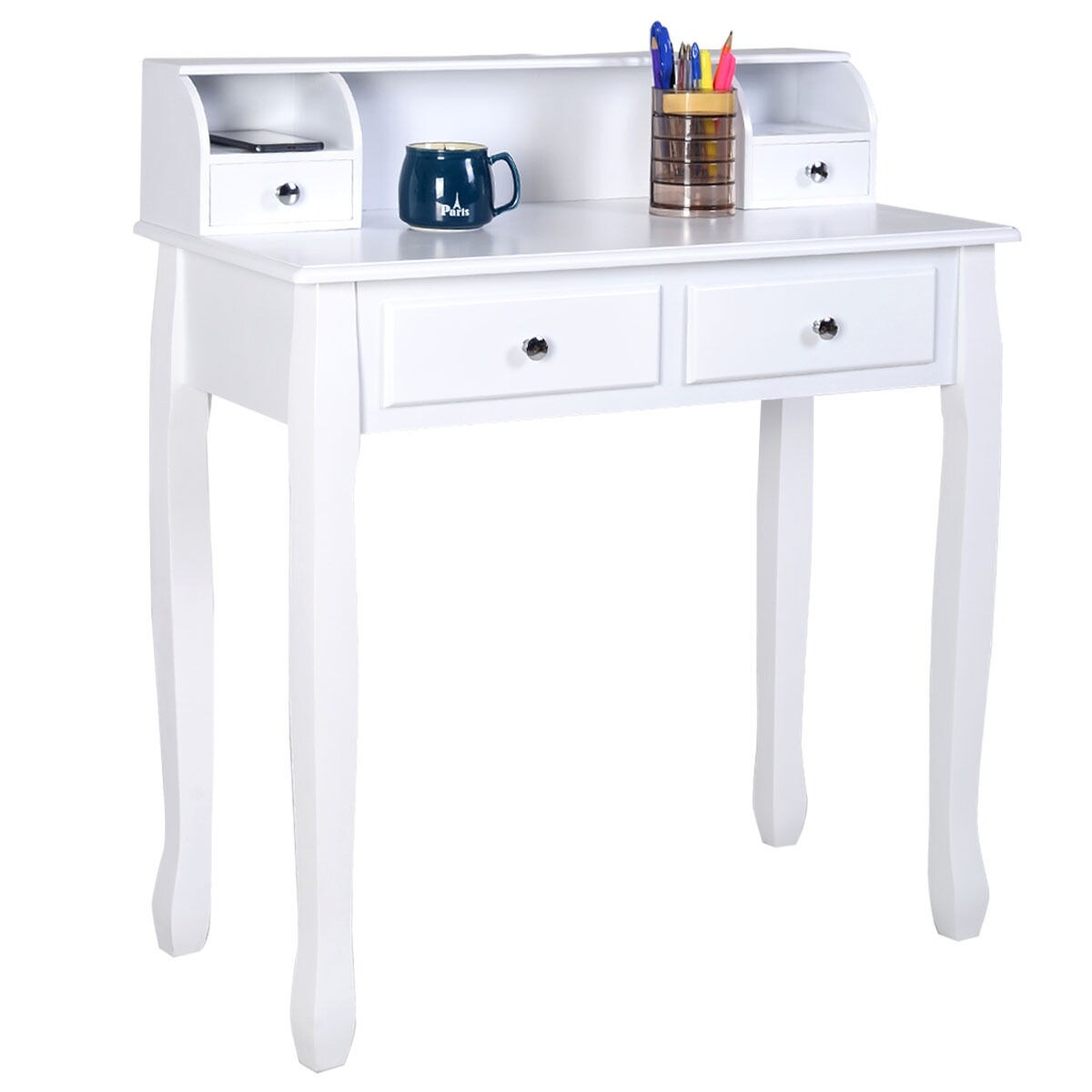 Shop Costway Writing Desk Mission White Home Office Computer Desk 4 ...