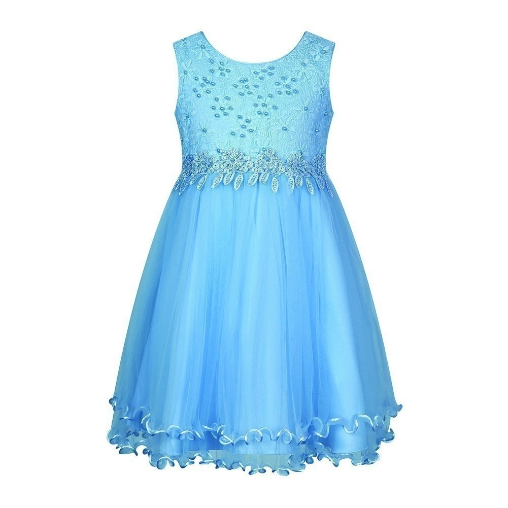Richie House Girls Blue Embroidered Mesh Party Flower Girl Dress ...