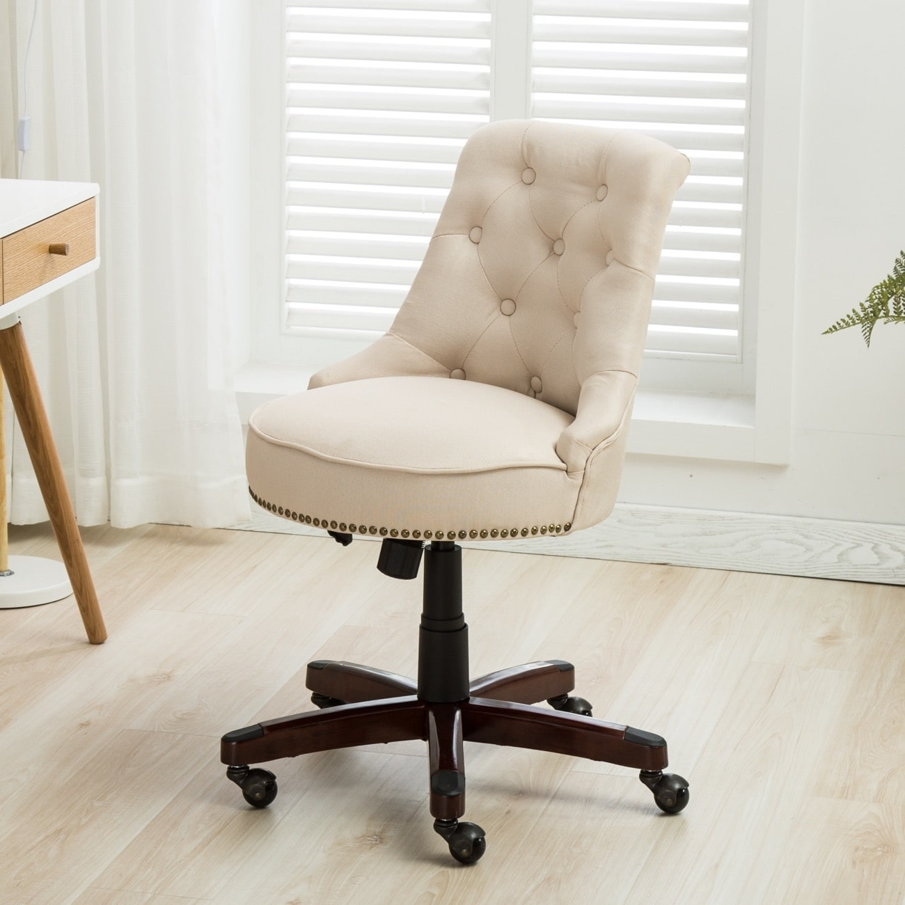chair linen desk c pbteen tufted products twill
