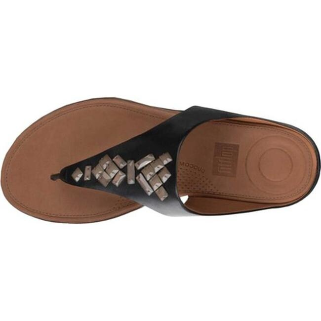 65f2ae060 Shop FitFlop Women s Banda II Toe Thong Sandal Black Leather Crystal - Free  Shipping Today - Overstock - 21358771