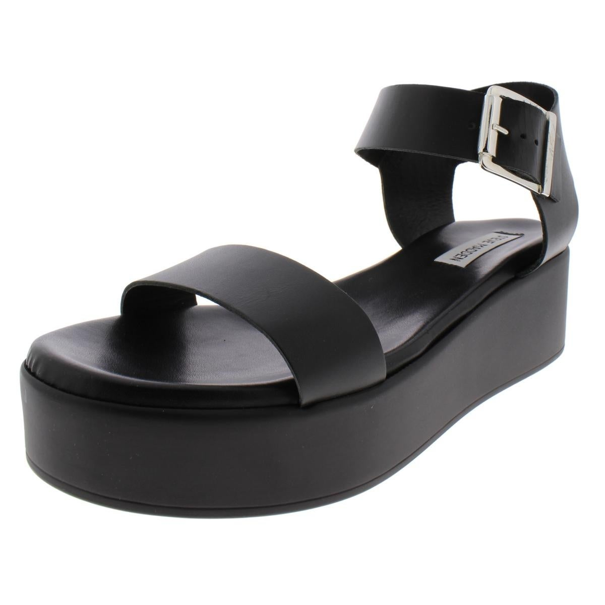 052e4ee807e Steve Madden Womens Recover Wedge Sandals Leather Ankle Wrap