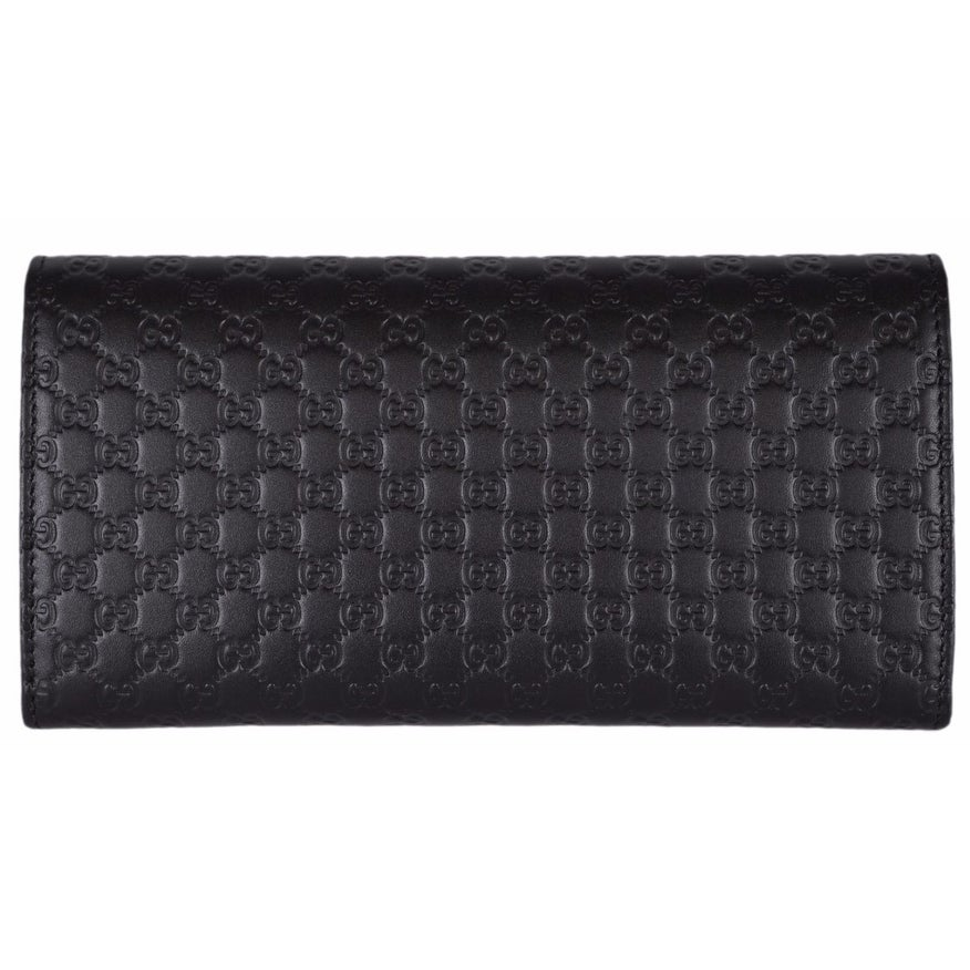 2f74e7a7aaadb1 Gucci Women's 449396 Black Leather Micro GG Continental Bifold Wallet -  7.5