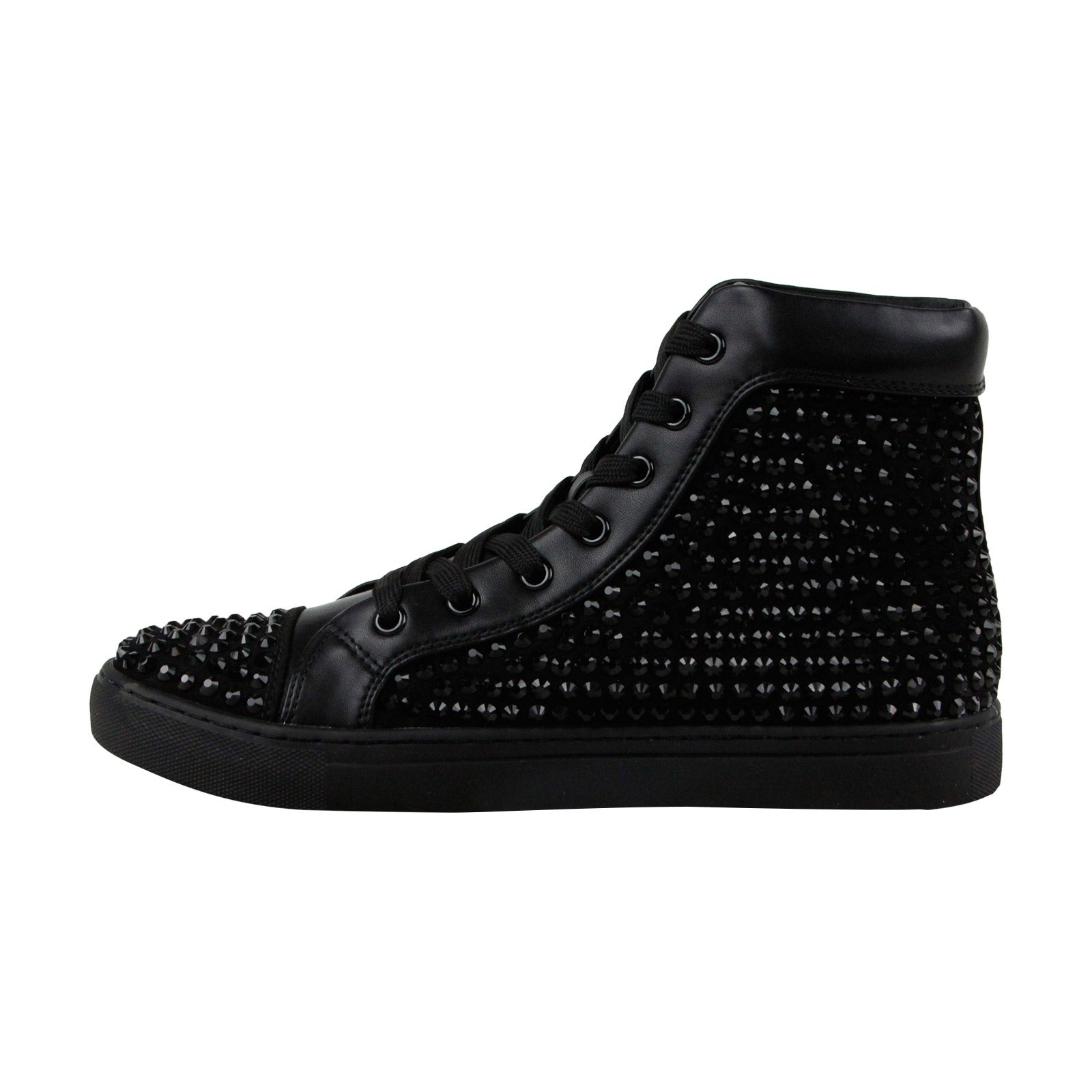 60840c39fa4 Shop Steve Madden Crescent Mens Black Leather High Top Lace Up Sneakers  Shoes - Free Shipping On Orders Over  45 - Overstock - 21729669
