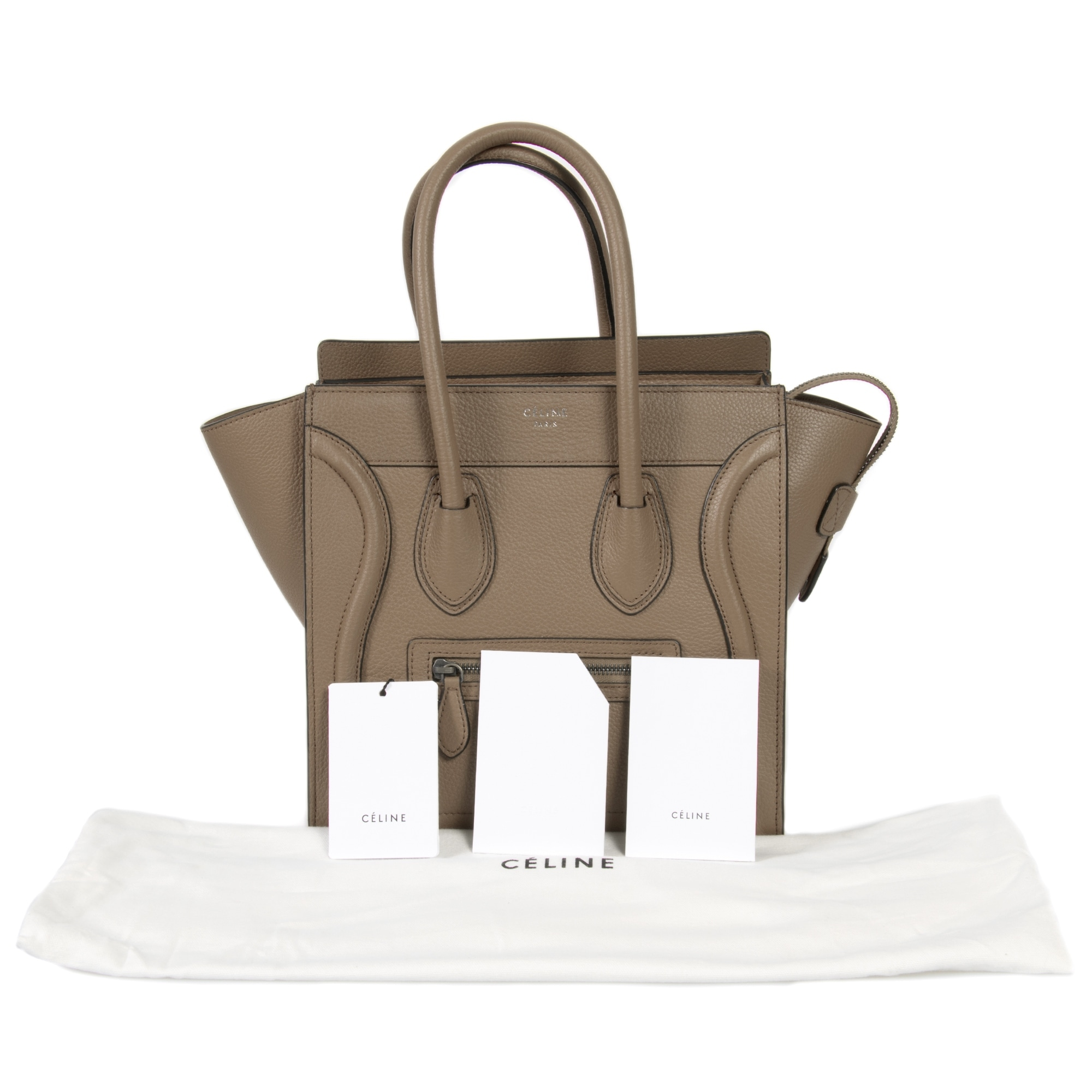 Shop Celine Micro Luggage Tote Bag in Dune Baby Drummed Calfskin Leather -  Free Shipping Today - Overstock.com - 23085449 d4f940f5f9a