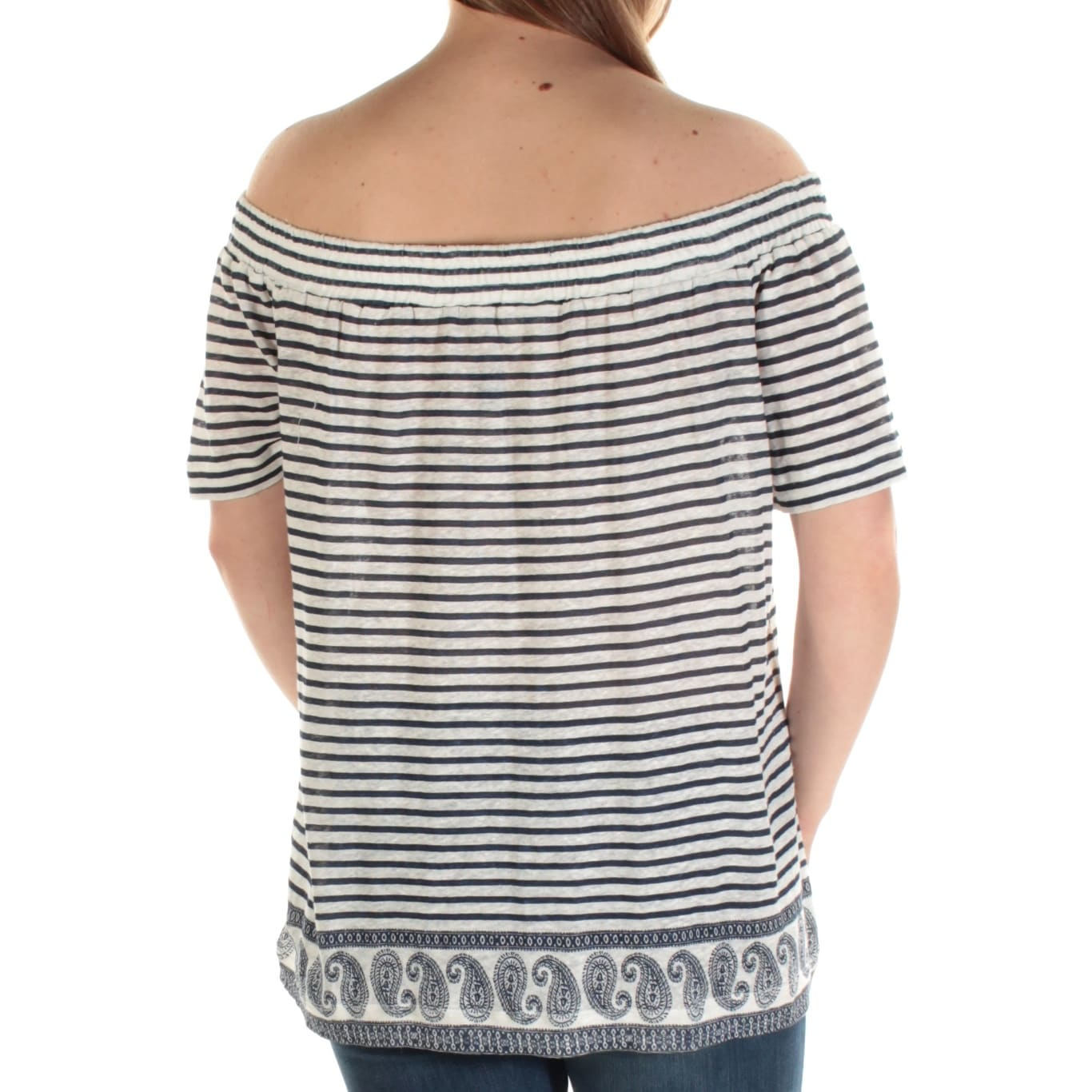 804b39602511d3 Shop VINCE CAMUTO Womens Ivory Striped Short Sleeve Off Shoulder Top Size   M - Free Shipping On Orders Over  45 - Overstock.com - 25995408