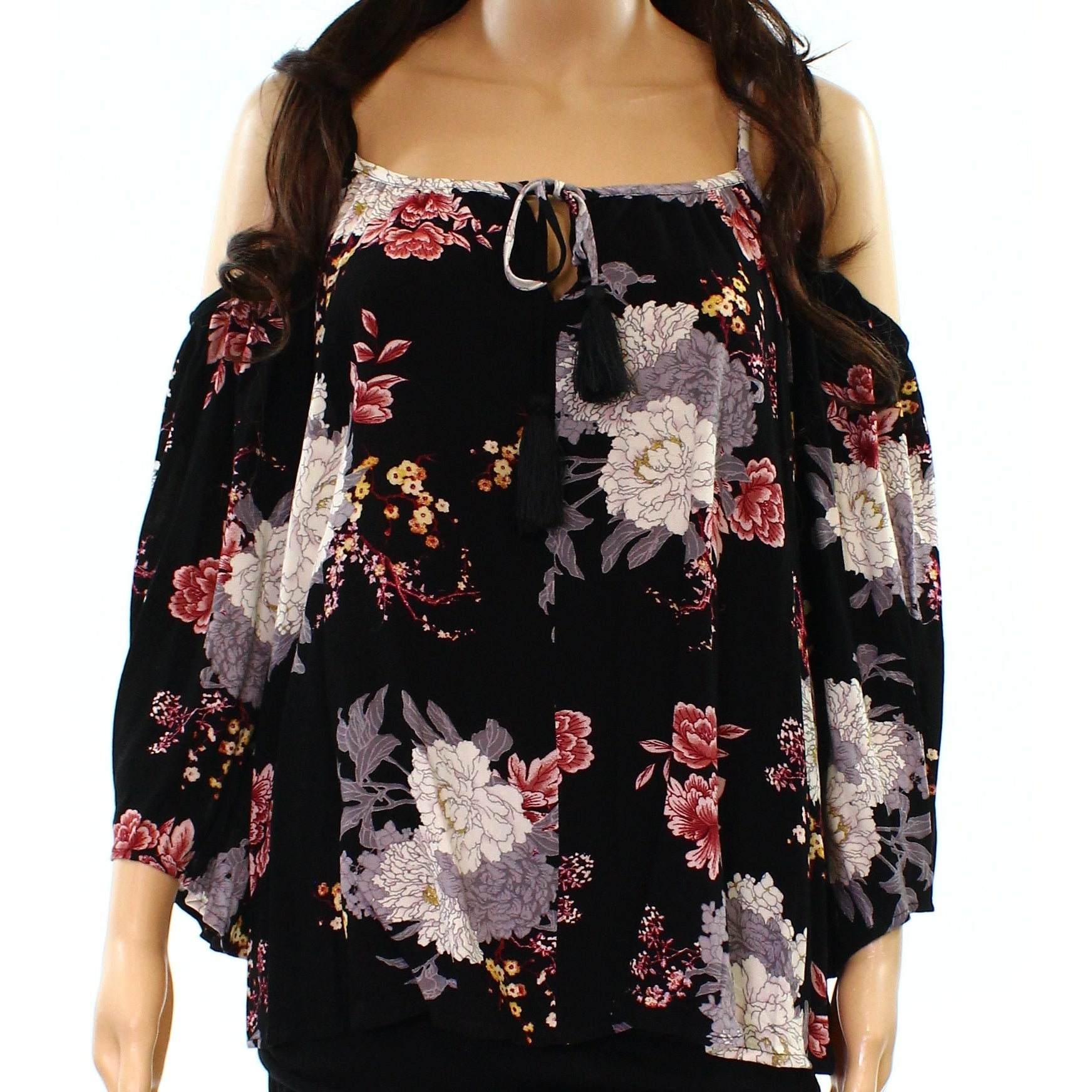 48df01fa17211 Shop Socialite NEW Black Womens Size XS Floral Cold-Shoulder Peasant Blouse  - Free Shipping On Orders Over  45 - Overstock.com - 21029586