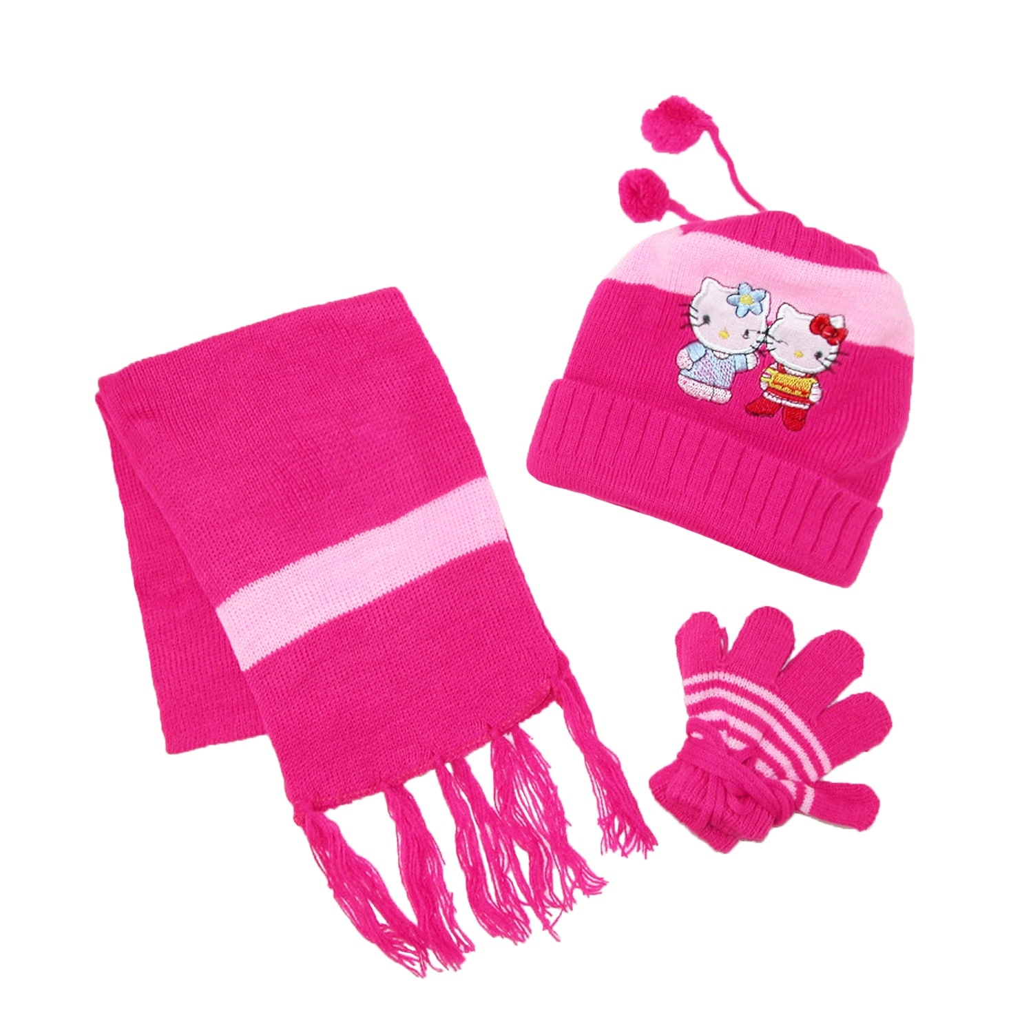 29ce124f39e Shop CTM® Kids  Hello Kitty Hat Scarf and Gloves on a String Winter Set -  Free Shipping On Orders Over  45 - Overstock - 14278737