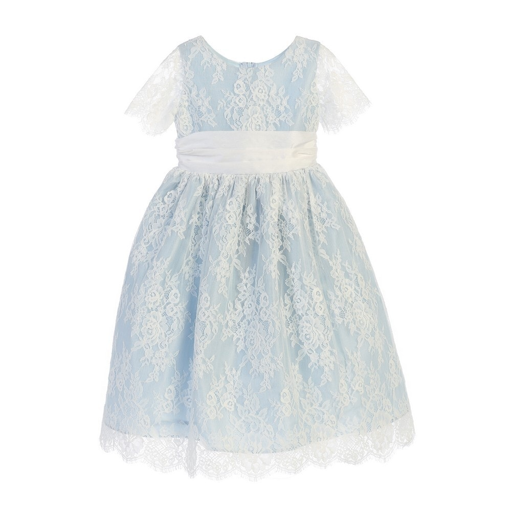 e7e322bbc Shop Sweet Kids Little Girls Blue French Lace Dupioni Flower Girl Dress -  Free Shipping Today - Overstock - 18167040