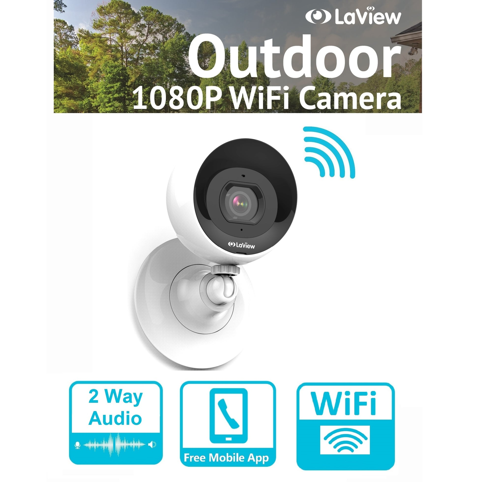 Shop LaView Wifi 1080P Outdoor Security Camera with Micro SD Storage, 2-Way  Audio, Night Vision, Motion Detection, Free Remote View - Free Shipping  Today ...