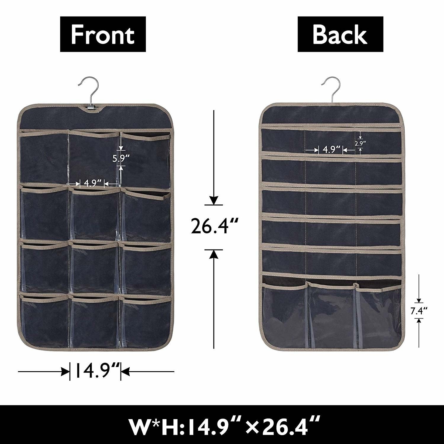 c79da3c5c138 GRANNY SAYS Hanging Jewelry Organizer Bag With Hanger, Dual-sided Accessory  Organizer, 30 Pockets, Brown, 26.4