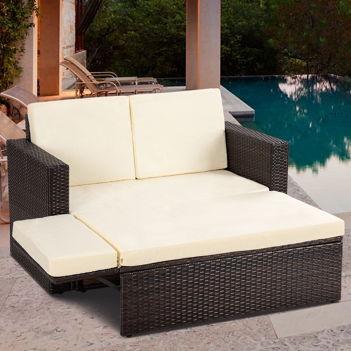 Shop Gymax 2PCS Patio Rattan Loveseat Sofa Ottoman Daybed Garden Furniture  Set W/Cushions - On Sale - Free Shipping Today - Overstock.com - 22985051 - Shop Gymax 2PCS Patio Rattan Loveseat Sofa Ottoman Daybed Garden