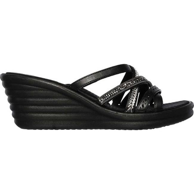 5358e72a4c75 Shop Skechers Women s Rumblers Wave New Lassie Slide Wedge Sandal Black -  Free Shipping On Orders Over  45 - Overstock - 19408577