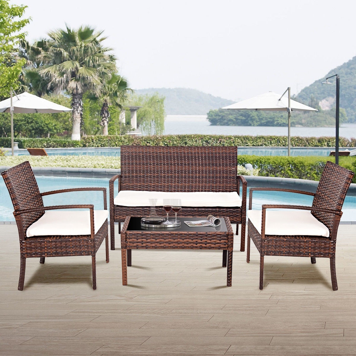 Magnificent Costway 4 Pc Rattan Patio Furniture Set Garden Lawn Sofa Wicker Cushioned Seat Brown Home Interior And Landscaping Ferensignezvosmurscom