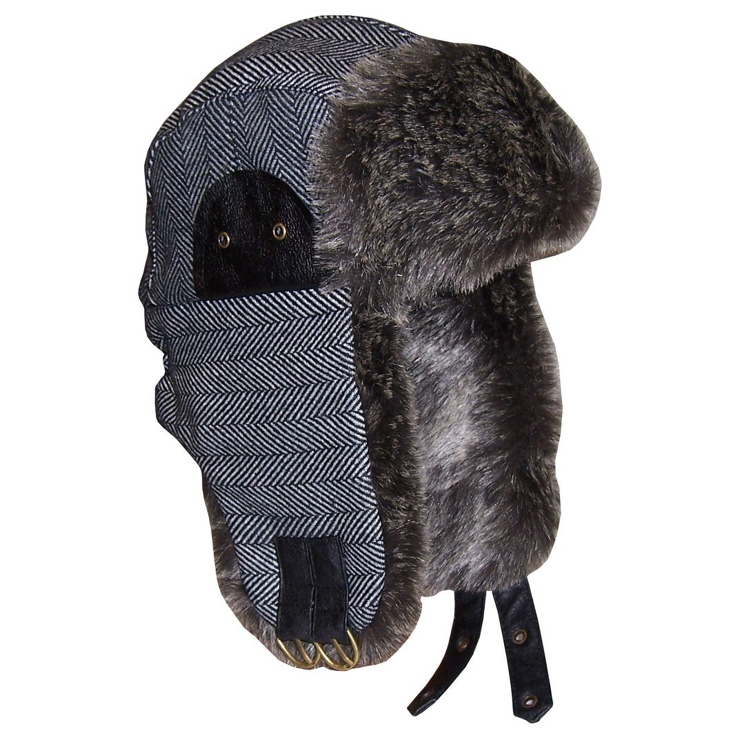 Shop NICE CAPS Men s Striped Tweed Trapper Hat with Faux Fur Lining -  grey black tweed stripes - 59cm (men s) - Free Shipping On Orders Over  45  - Overstock ... 1bf34b4b2cb