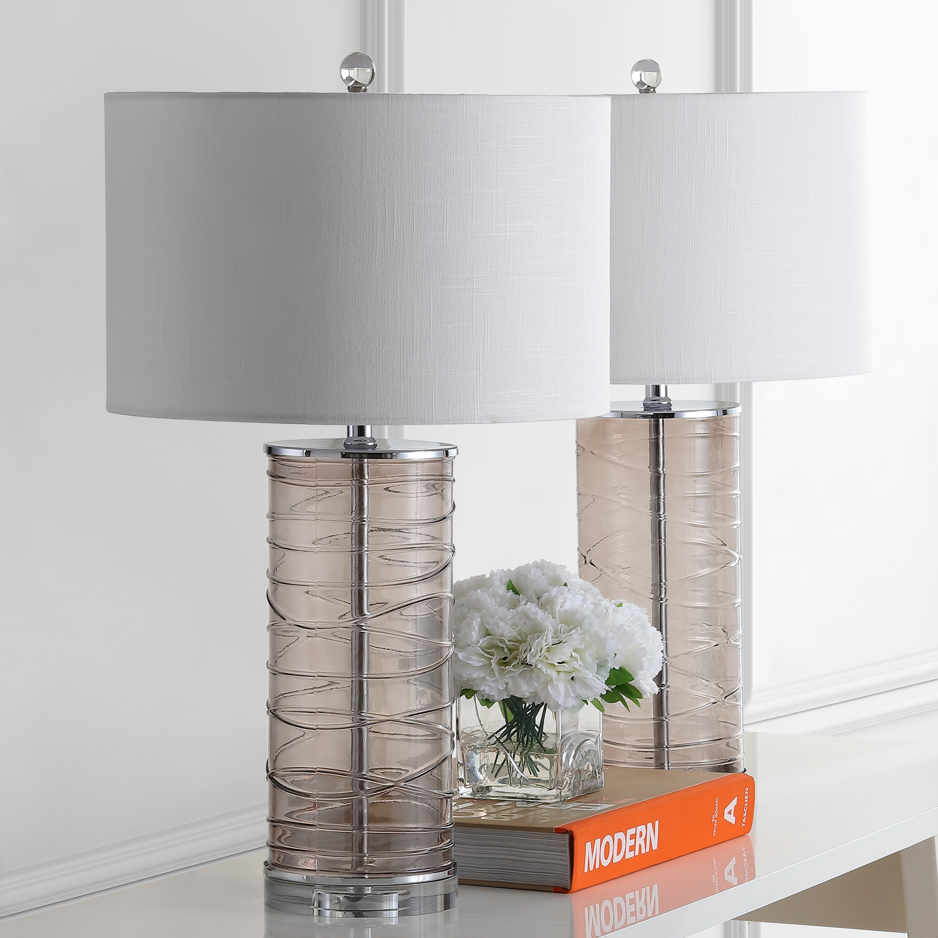 Cole 27 5 Modern Fused Glass Cylinder Led Table Lamp Smoky Gray Set Of 2 By Jonathan Y On Sale Overstock 28263239