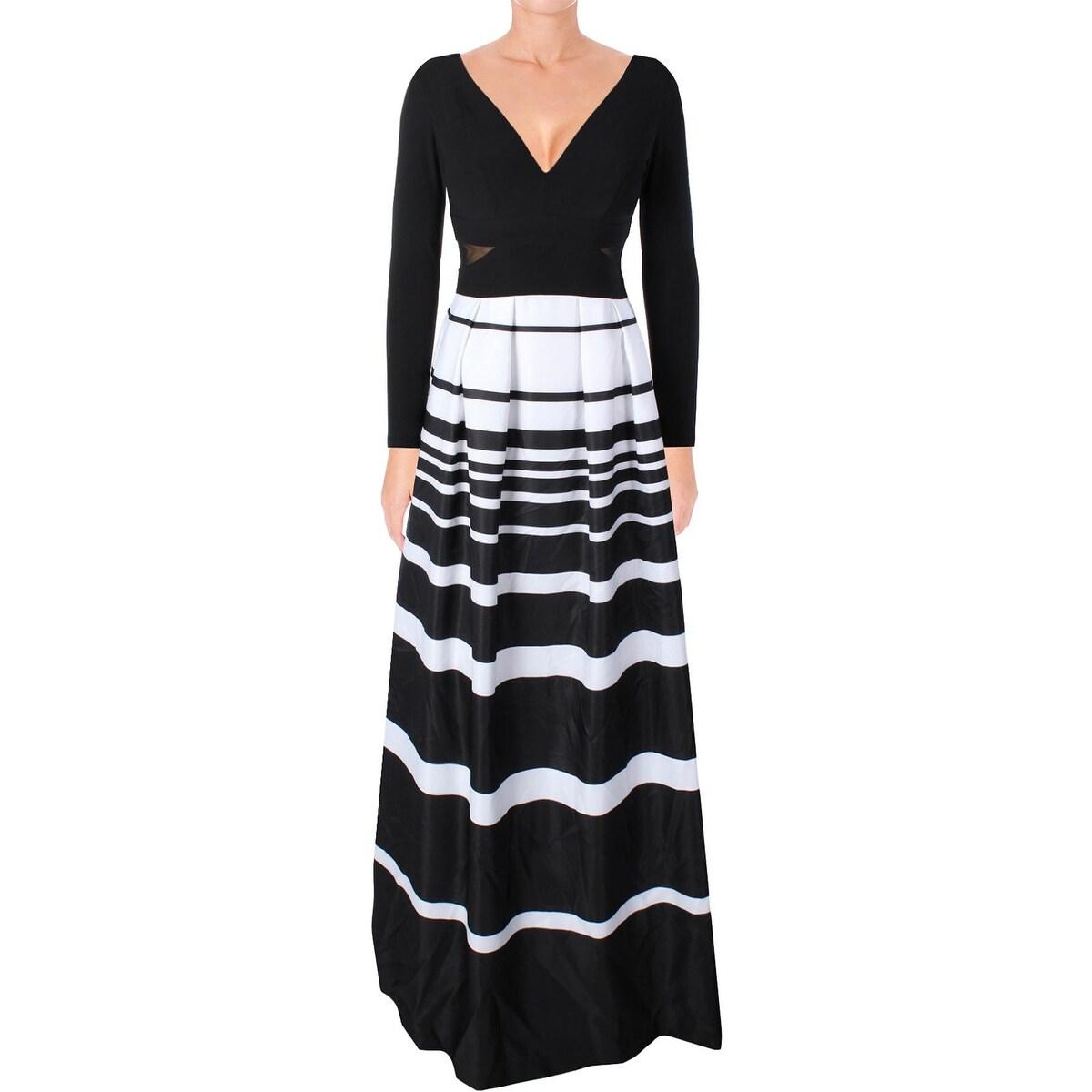Shop Xscape Womens Ball Gown Evening Dress Striped Long Sleeve ...