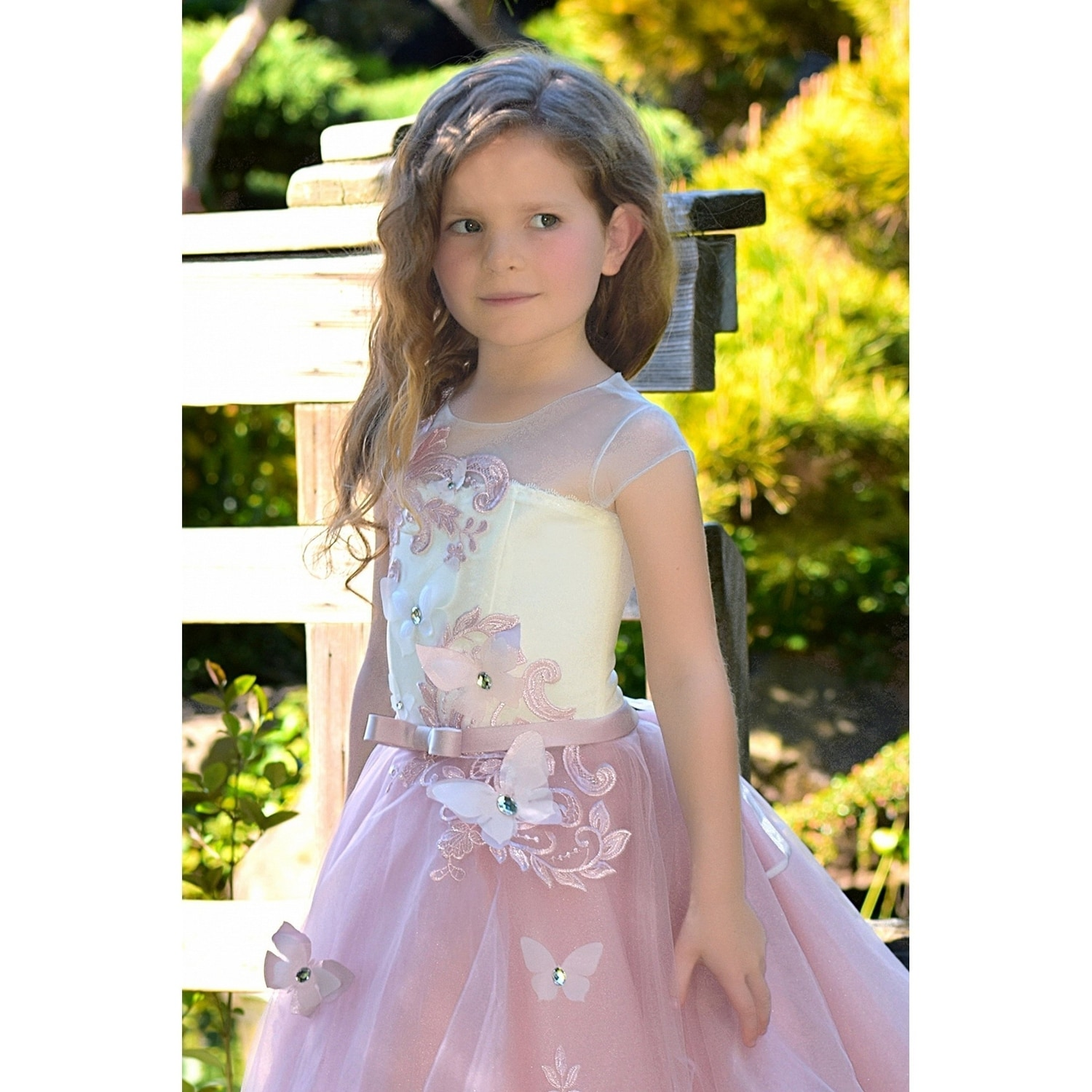 af32d964e Shop Girls Ivory Pink Butterfly Applique Train Flamingo Flower Girl Dress -  Free Shipping Today - Overstock - 23079087