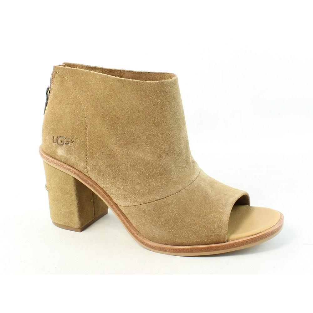 d7307eb44ff UGG Womens Ginger Chestnut Open Toe Booties Size 8.5