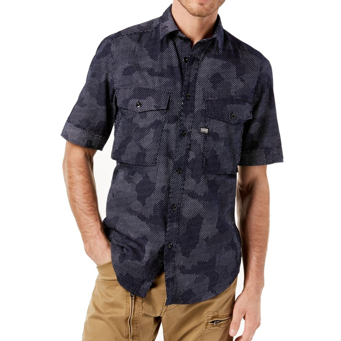 88ebbe16cd Shop G-Star Raw Blue Mens Size XL Button Down Short-Sleeve Dual-Pocket -  Free Shipping Today - Overstock - 27693970