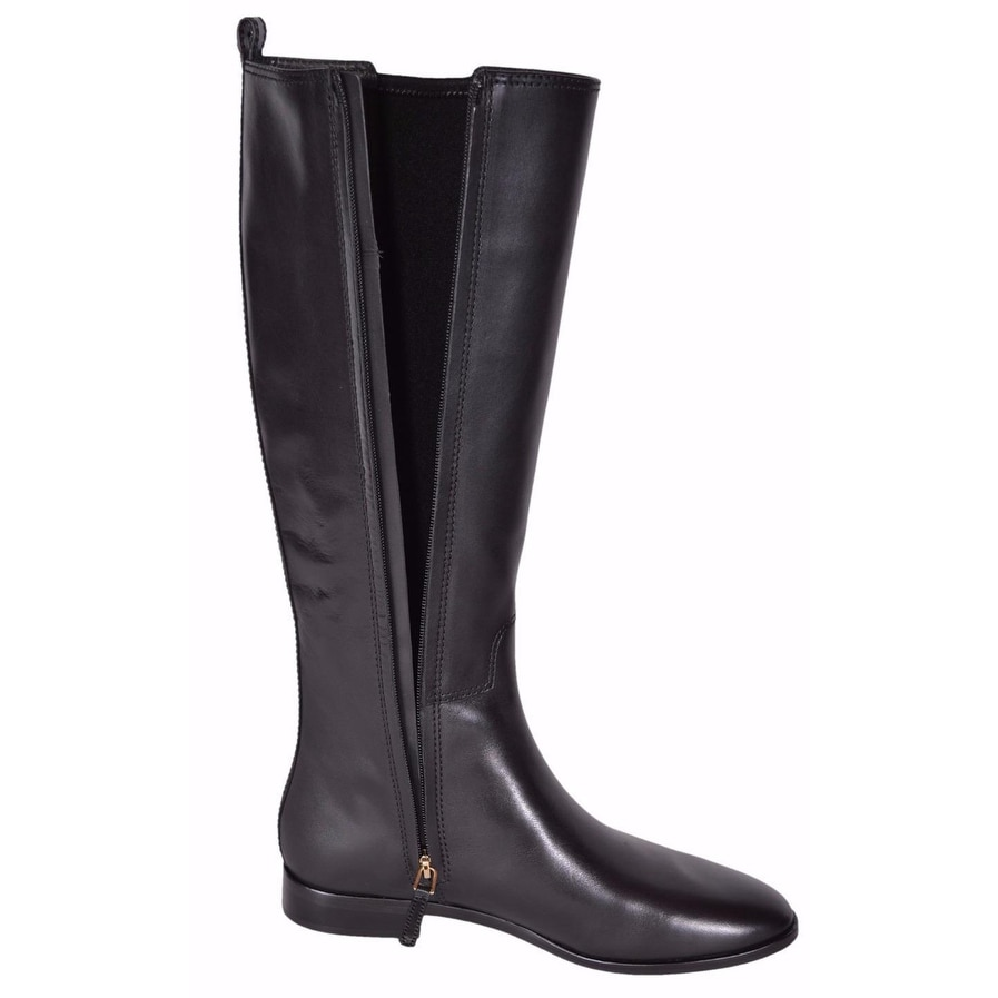 f3095ac8acb Shop Tory Burch Women s Black Leather Wyatt Knee High T Logo Riding Boots 6  - On Sale - Free Shipping Today - Overstock.com - 19469396