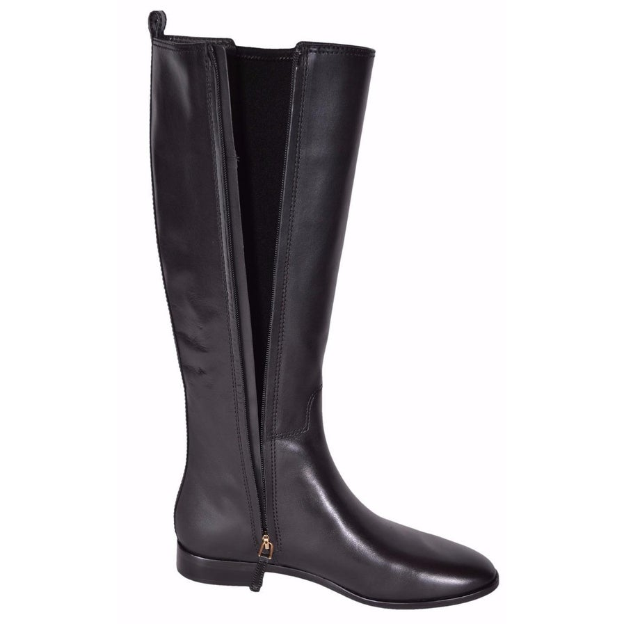 1311213ccb3af1 Shop Tory Burch Women s Black Leather Wyatt Knee High T Logo Riding Boots 8  - On Sale - Free Shipping Today - Overstock - 19469375