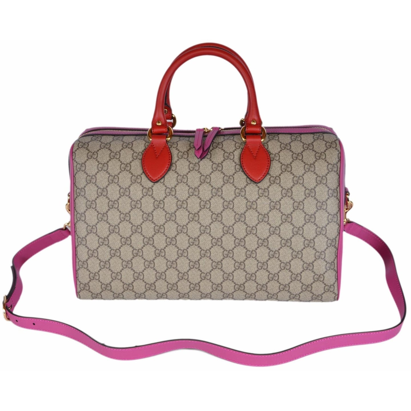 fb7236320a158c Shop Gucci Women's 409527 GG Supreme Guccissima Convertible Boston Bag  Purse - ebony beige|pink|red - Free Shipping Today - Overstock - 15949710