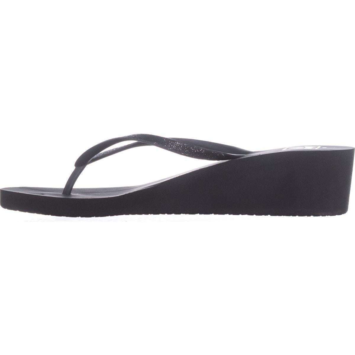 9de896c5ca Shop Reef Krystal Star Wedge Flip Flops, Black/Black - Free Shipping On  Orders Over $45 - Overstock - 21179870