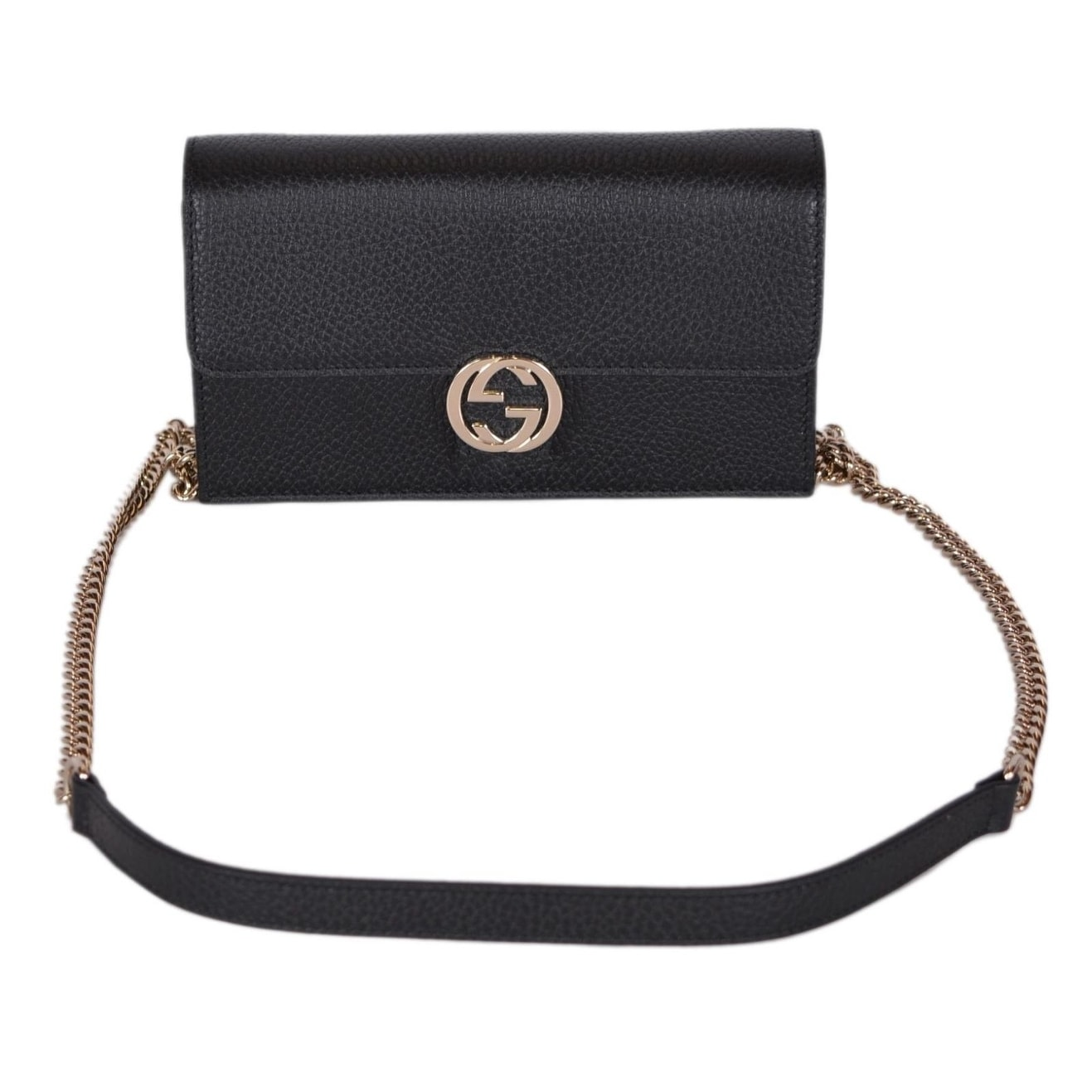9f0bf48ddcb0 Shop Gucci 510314 Black Leather Interlocking GG Crossbody Wallet Bag Purse  Clutch - 7.5