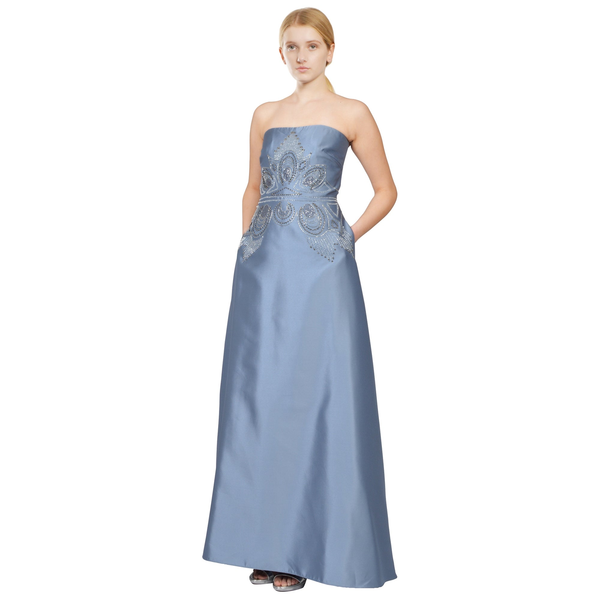 Shop Badgley Mischka Strapless Silky Twill Beaded Evening Gown Dress ...