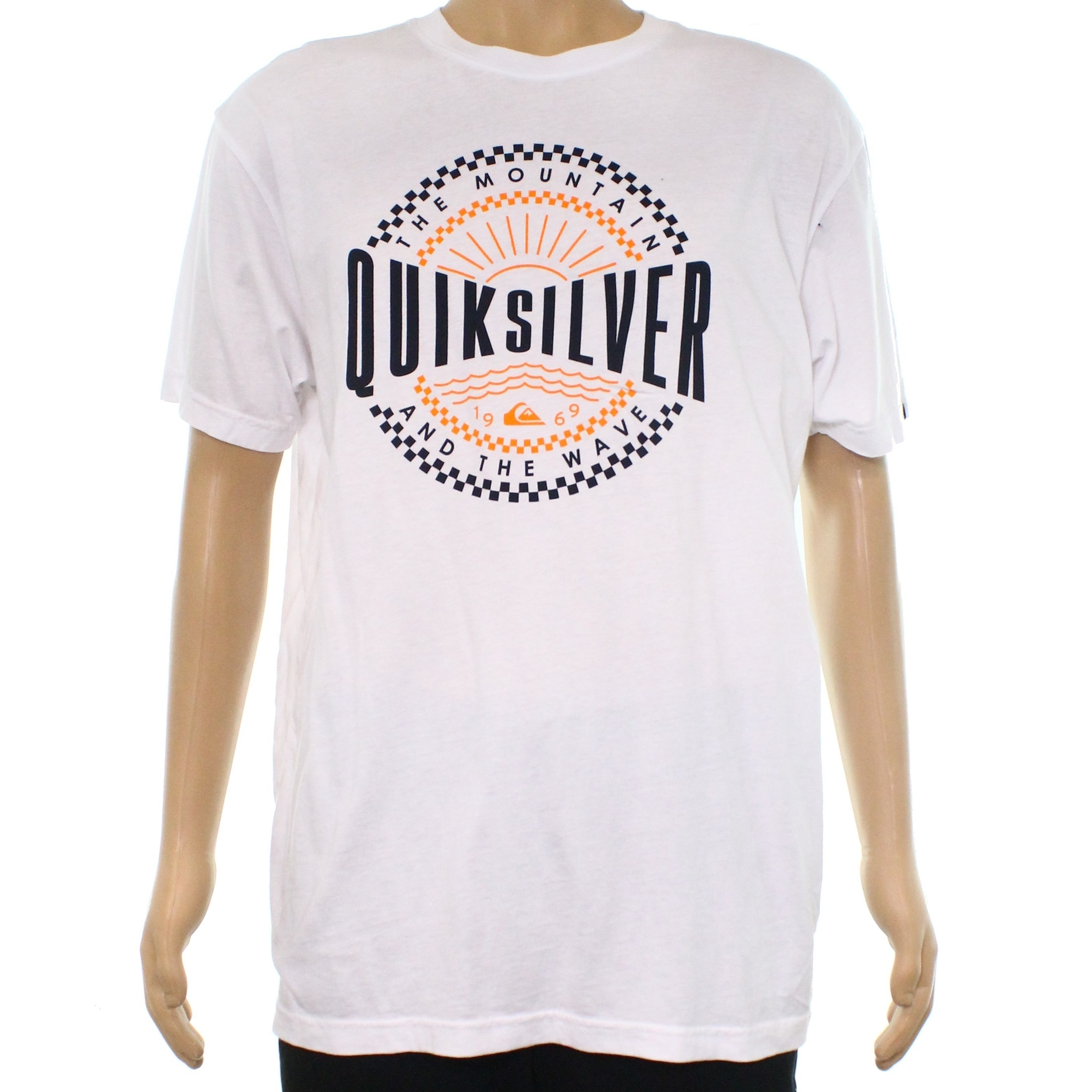 Shop Quiksilver Orange Mens Logo Graphic Print Tee Shirt Free