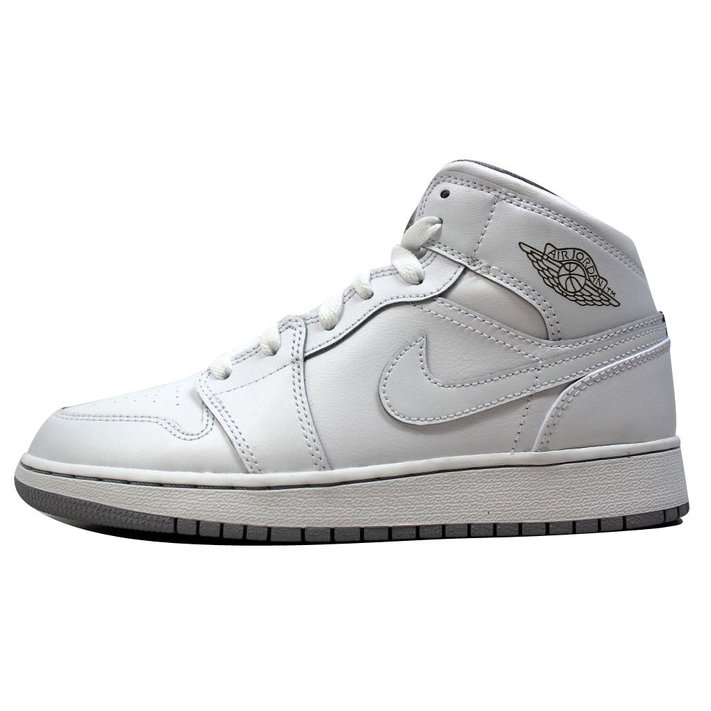 official photos 1a382 a12ad Shop Nike Grade-School Air Jordan I 1 Mid BG White White-Wolf Grey 554725- 112 - Free Shipping Today - Overstock - 20139213
