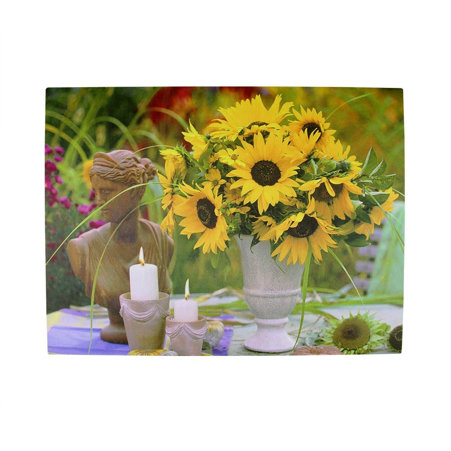 LED Lighted Flickering Garden Candles and Sunflower Vase Canvas Wall ...
