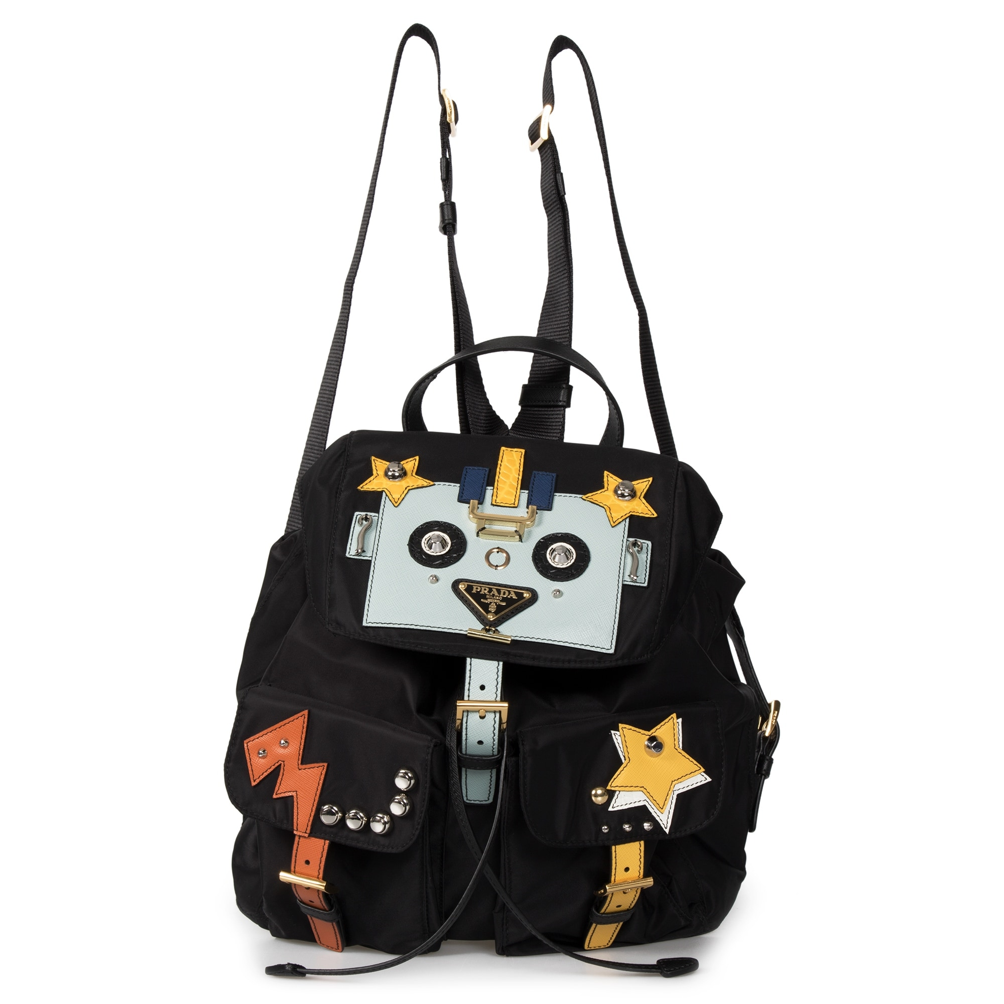 7bd805b559b4 Shop Prada Black Fabric Backpack With Robot Motif - Free Shipping Today -  Overstock - 23085386