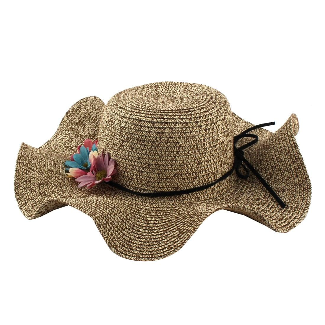 Shop Ladies Straw Flower Design Decor Garden Beach Cap Wide Brim Sun ...