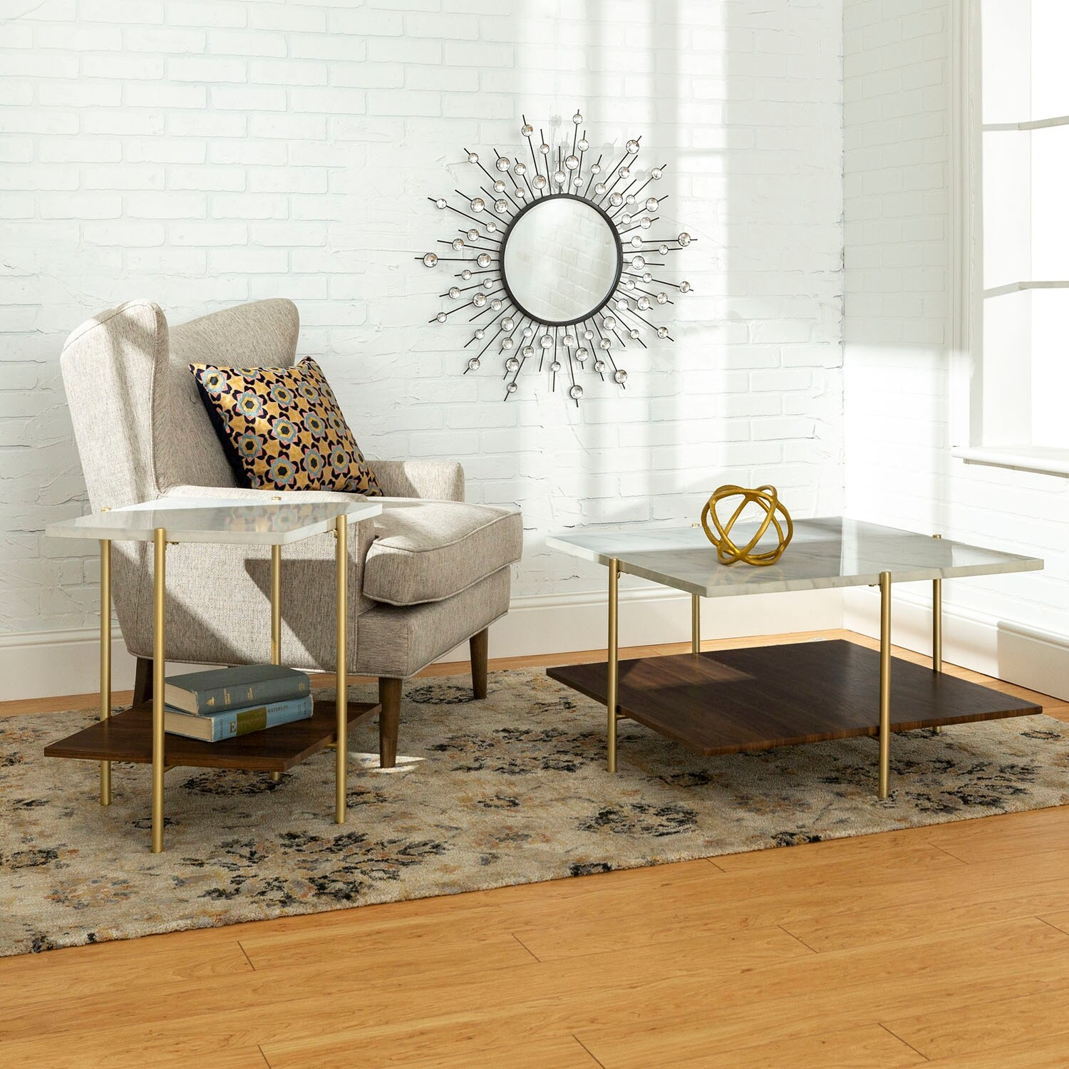 Shop offex 2 piece modern square coffee and side table set white faux marble gold free shipping today overstock 27981590