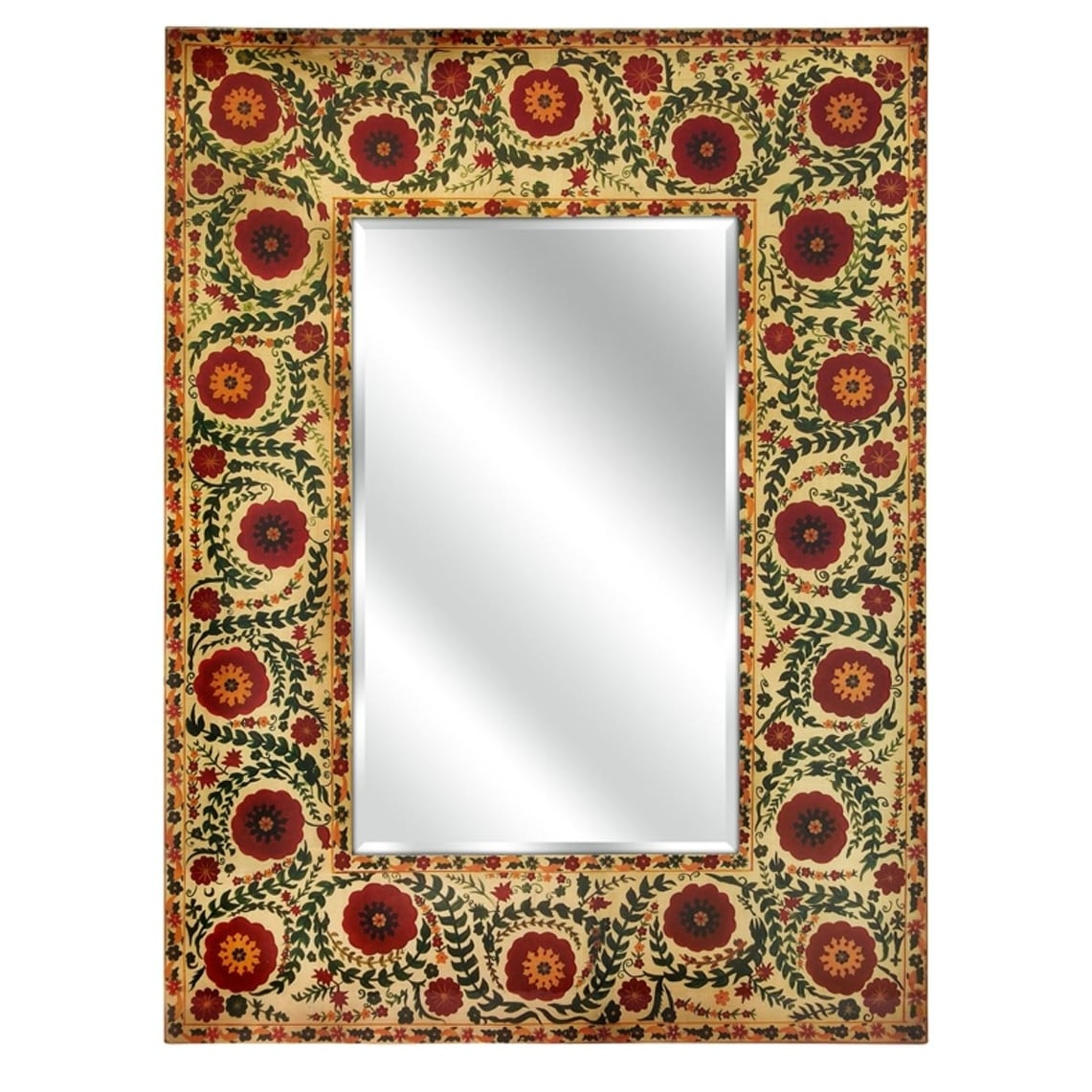 40 Red And Orange Floral Tapestry Decorative Wall Mirror Free