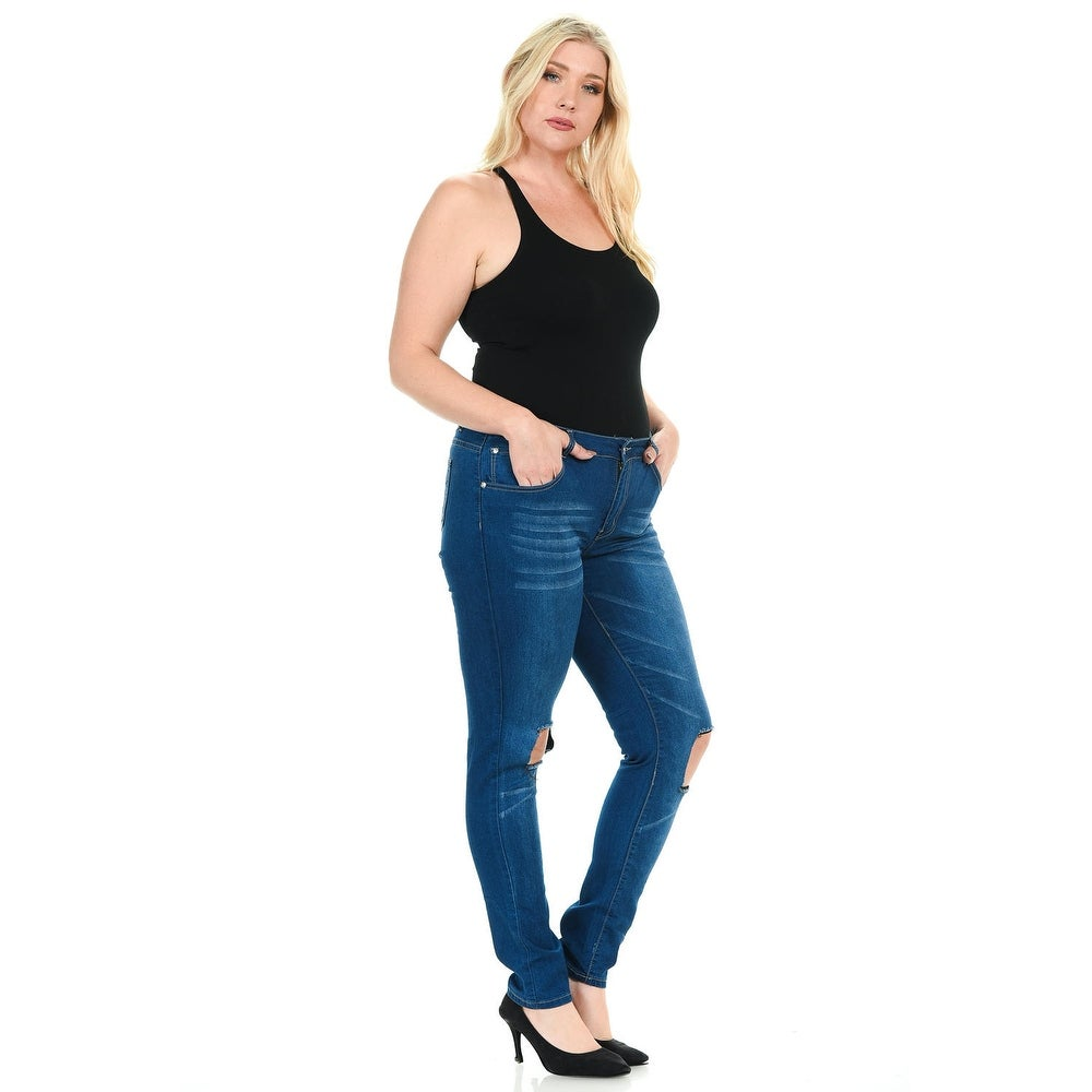 09bfdaf1d82 Shop Sweet Look Premium Edition Women s Jeans - Plus Size - High Waist - Push  Up - Style N066 - Color - Blue - Size - 20 - Free Shipping Today ...