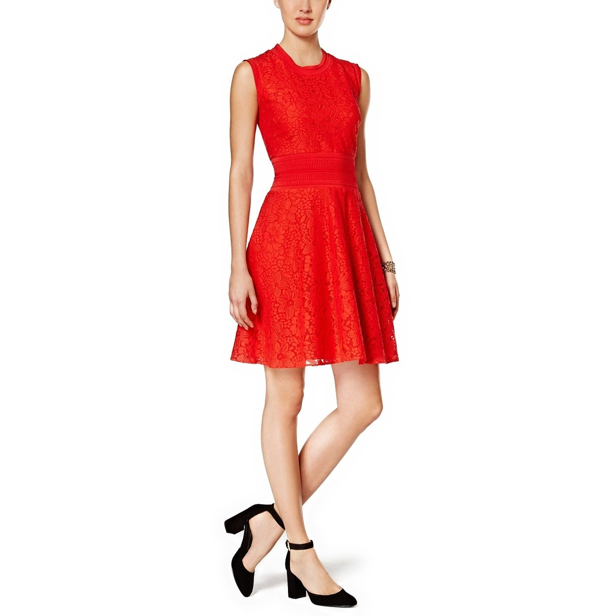 42d0da2fde2dba Shop Tommy Hilfiger Lace Fit Flare Dress - 6 - Free Shipping Today -  Overstock - 20537056