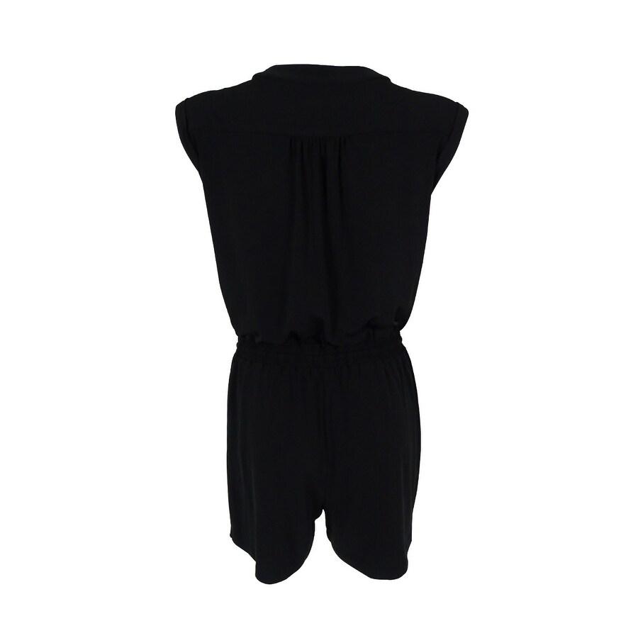 ee03f9df22f9 Shop Spense Women s Sleeveless Drawstring Jersey Romper - Black - 2P - Free  Shipping Today - Overstock.com - 15966527