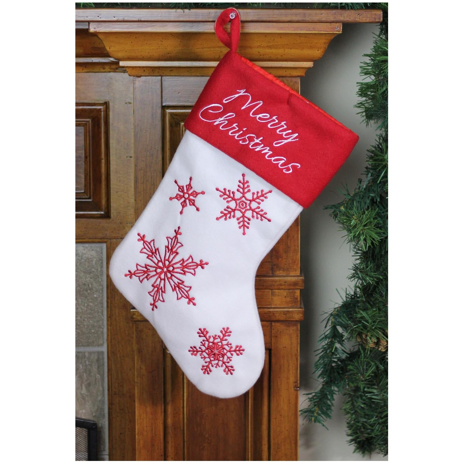 shop 1525 red and white merry christmas snowflake embroidered christmas stocking free shipping on orders over 45 overstockcom 18299365 - Embroidered Christmas Stocking