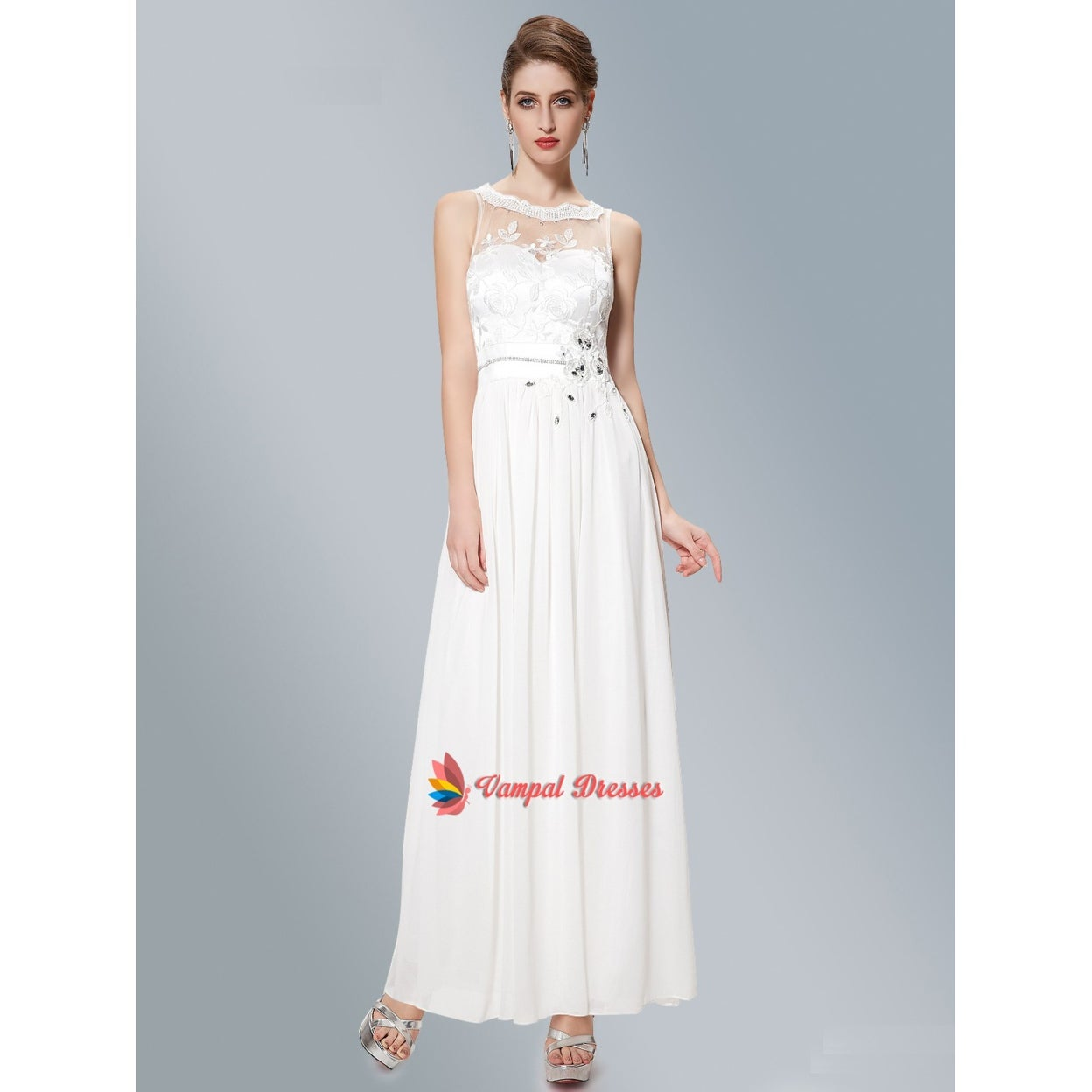 45f9ef845ddd Shop White Illusion Neckline Long Chiffon Prom Dress With Embroidery ...